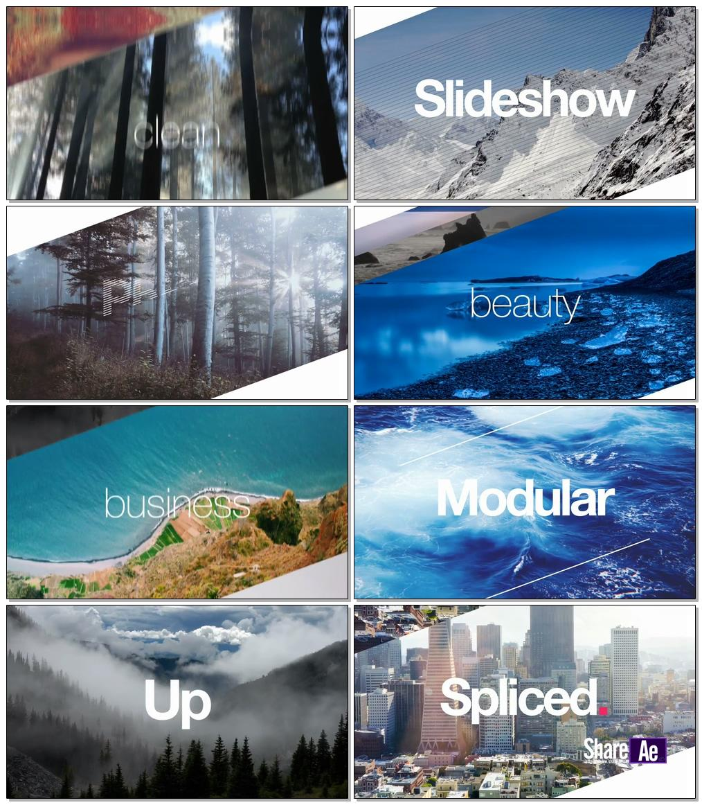 时尚拼接效果展示相册AE模板 Videohive Spliced Angular Slideshow 14685274