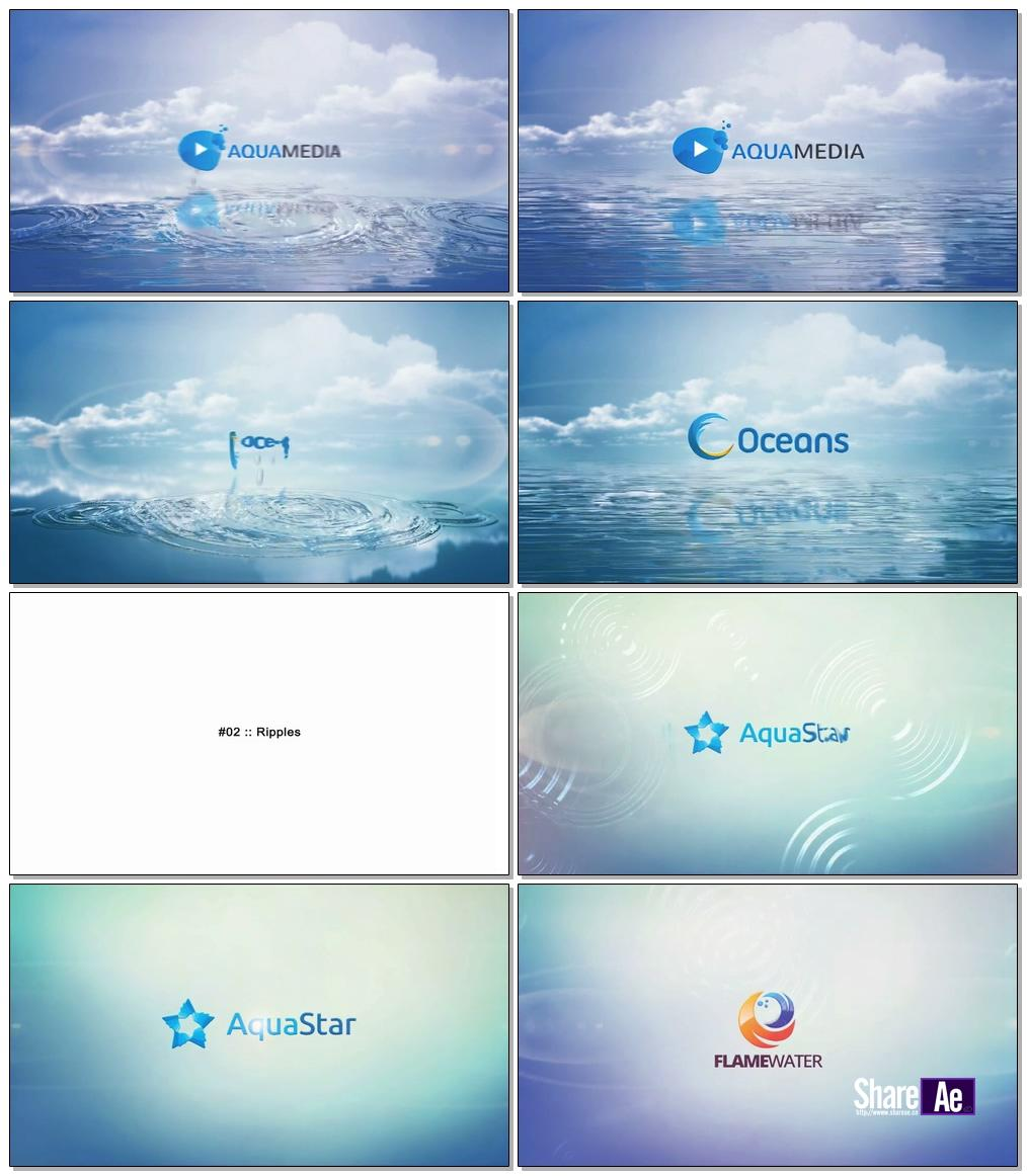 简洁水面波纹logo演绎AE模板 Videohive Clean Logo V03 Water Ripples