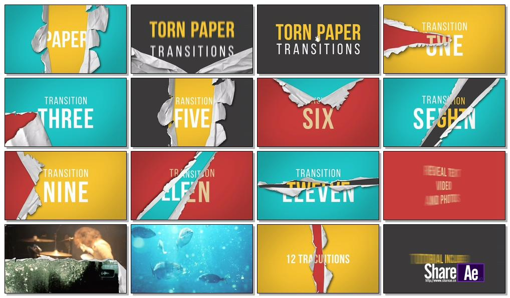 AE模板 12组撕破纸张显示转场 Videohive Torn Paper Transitions Reveal Pack 免费下载