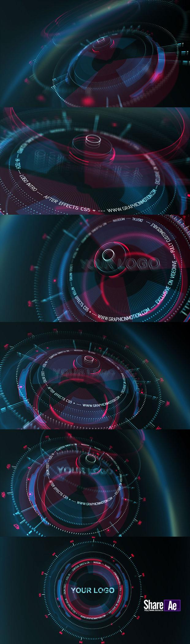 AE模板 HUD现代高科技感Logo展示 Videohive Hi-Tech HUD Logo Reveal 免费下载