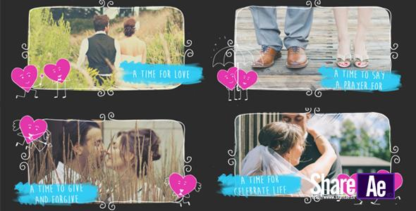 情侣卡通相册AE模板 Videohive Valentine Love Slideshow