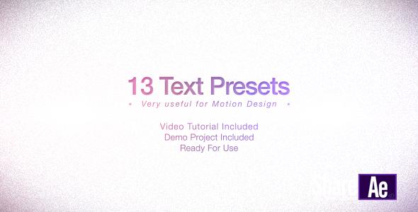 AE模板 13组小清新文字动画预设包 免费下载 Videohive Text Presets Pack