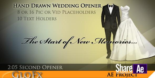 手绘婚礼开场视频AE模板 Videohive Hand Drawn Wedding Opener