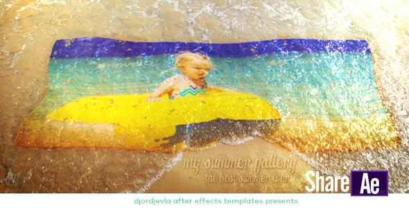 AE模板 夏天沙滩海浪冲洗照片展示 Videohive My Summer Wave Gallery 免费下载