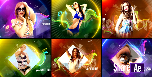 AE模板 魅力多彩时尚模特人物展示 Videohive Colorful Fashion Intro 免费下载
