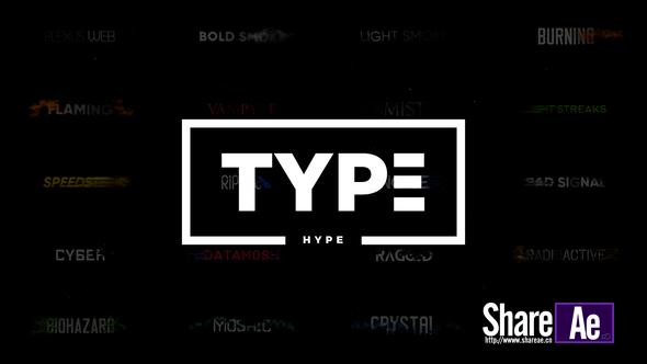 AE模板 20组动感毛刺数字文字标题动画 Videohive TypeHype – Titles Animation \\ Motion Typography Text 免费下载