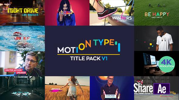 AE模板 12组创意图形文字标题动画 Videohive Motion Type – Titles Pack免费下载