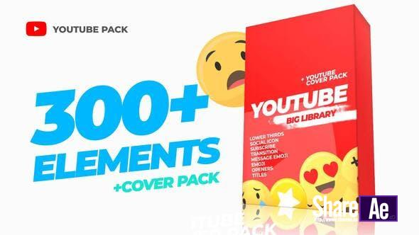 AE模板-300种视频字幕条点赞订阅关注文字标题设计 300 Videohive Youtube Library and Сover pack 免费下载