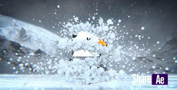 AE模板-雪地场景雪球破碎LOGO展示 Videohive Winter Snow Logo Revealer 免费下载